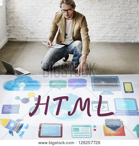 HTML Computer Language Internet Online Technology Concept