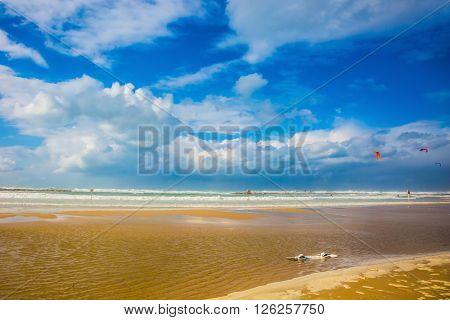 Mediterranean rages. Huge sea beach in Tel Aviv in stormy January day