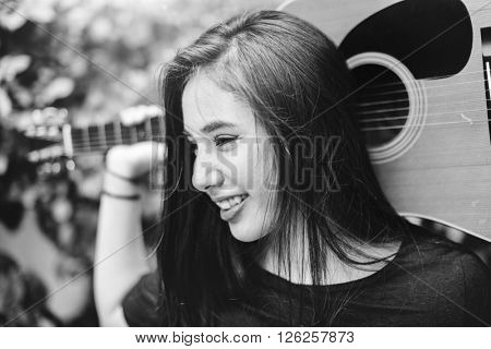Casual Music Instrument Girl Guitar Happiness Concept