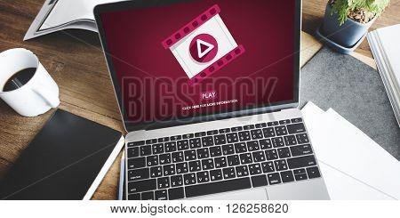 Play Multimedia Social Media Mass Communication Concept