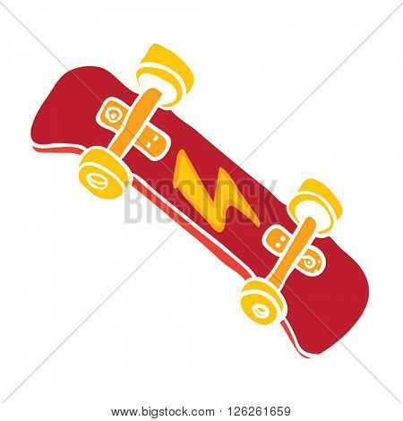 red skateboard cartoon illustration isolated on white