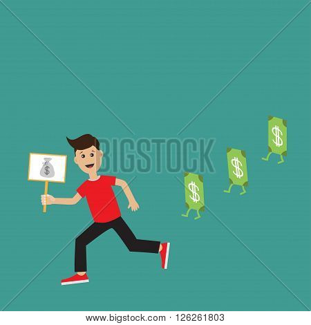 Cartoon running guy Boy character Businessman hand holding paper blank with money bag on the stick Money bill banknote with dollar sign. Flat design Green background Flat design Vector illustration