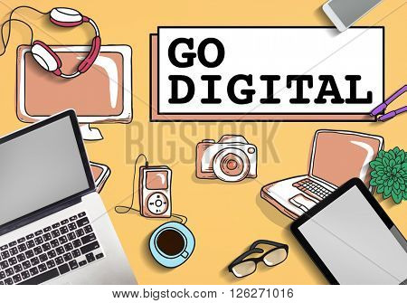 Go Digital Electronics Technology Concept