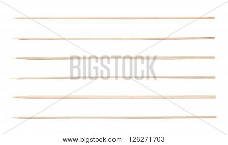 Single wooden skewer isolated over the white background, set of six different foreshortenings
