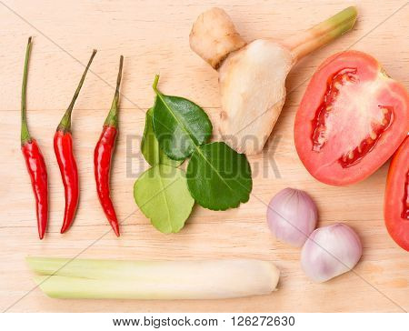 Ingredients for Thai soup (Tom Yum Goong) Thai cuisine