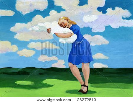 a woman with a dreamy expression embraces a white cloud