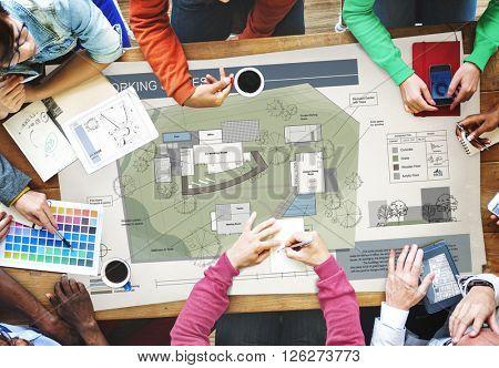 Co Working Space Architecture Plan Map Blueprint Design Concept