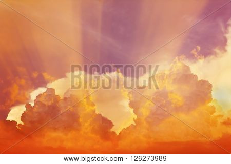 Abstract colourful orange pink violet soft dreamy sky with romantic soft mood