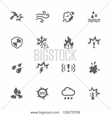 Simple Set of Influence Related Vector Icons. Contains such icons as water resistance, heat, dust and more.