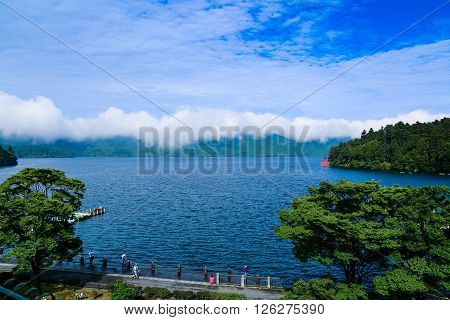 HAKONE, JAPAN, 20-JUL-2015: Nice view to Asi lake and Fuji, Hakone, Japan. Data taken 20-Jul-2015, 7 am