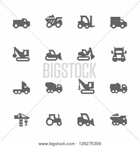 Simple Set of Construction Vehicles Related Vector Icons. Contains such icons as crane, truck, tractor and more.