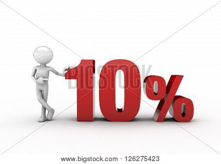 3D character with 10% discount sign white background