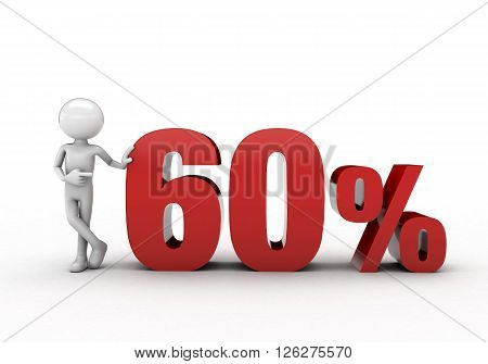 3D character with 60% discount sign white background