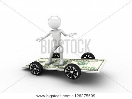 3D person surfing on the one hundred dollar bill. Isolated on white background