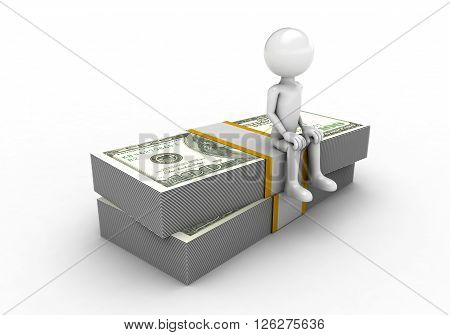 man sitting on top of dollar figure on a white background