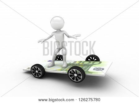 3D person surfing on the one hundred euro bill. Isolated on white background