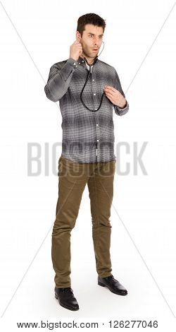 Mad Doctor With A Stethoscope Isolated