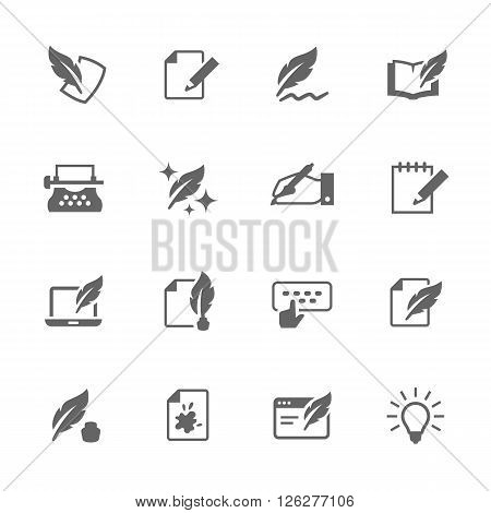 Simple Set of Writing Related Vector Icons. Contains such icons as hand writing, calligraphy, study and more.