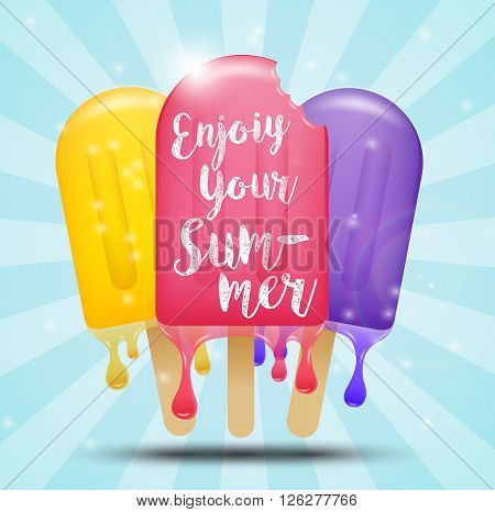 Illustration of Colorful ice cream bar on a stick, summer concept