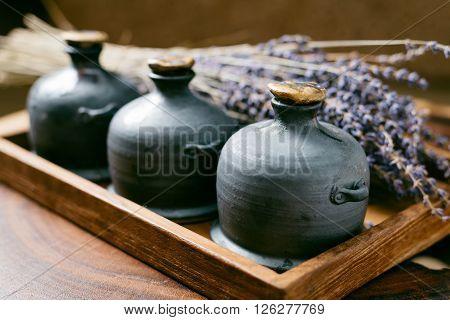 Massage series : Ceramic bottles of spa amenity set
