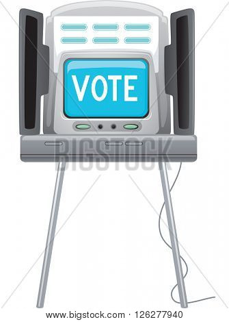 Illustration of a Machine with the Word Vote Flashing on It