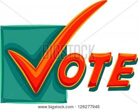Typography Illustration of a Check Mark Spelling the Word Vote poster