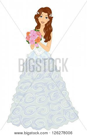 Illustration of a Gown in a Frilly Dress Holding a Bouquet