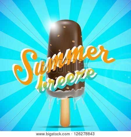 Illustration of chocolate ice cream bar on a stick, summer breeze concept