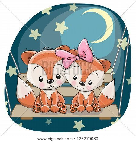 Valentine card with Lovers Foxes on the swing