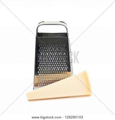 Grater and Parmigiano-Reggiano parmesan cheese composition isolated over the white background