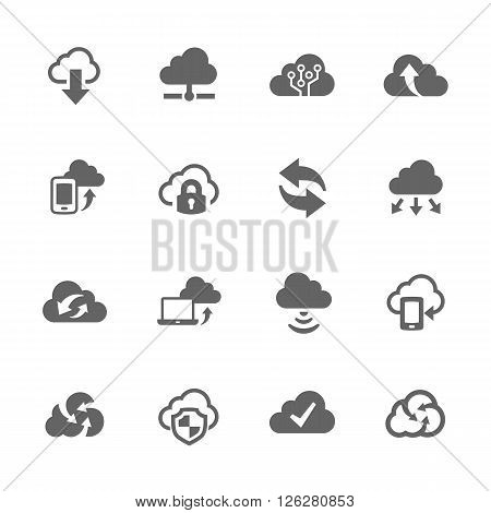 Simple Set of Computer Cloud Vector Icons. Contains Such Icons as Data Protection, Sync, Sharing and more.