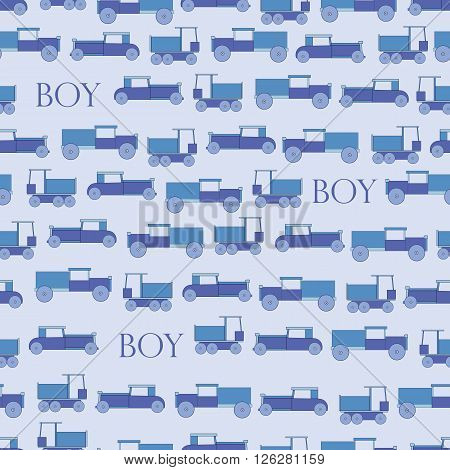 Background blue toy retro car. Toys cars for boys. Background for chilren or baby.