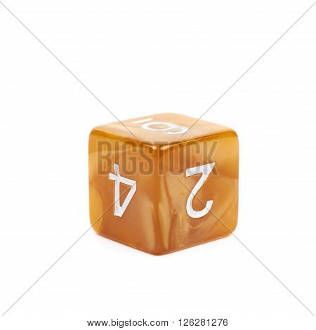 Roleplaying orange polyhedral gaming plastic dice cube isolated over the white background