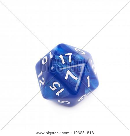 Blue roleplaying polyhedral icosahedron gaming plastic dice isolated over the white background