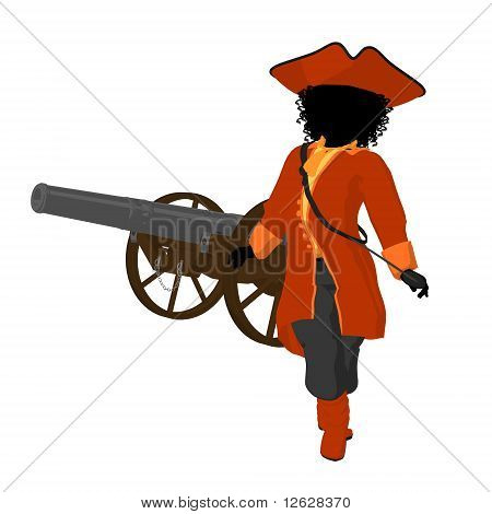African american teen pirate with a cannon on a white background poster
