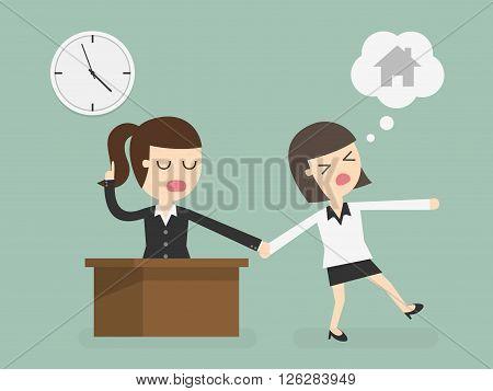 Salary man working overtime Overload. Cartoon Illustration.