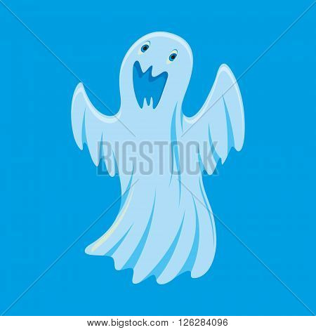 Vector illustration of ghost cartoon character on blue background
