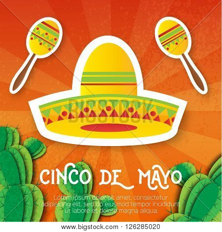 Mexican sombrero hat maracas. Musical Instrument. Maraca Mexico Carnival Percussion Instrument. Orange background with cactus. Vector illustration.