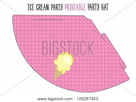 Party hat printable. Cut. Ice cream party
