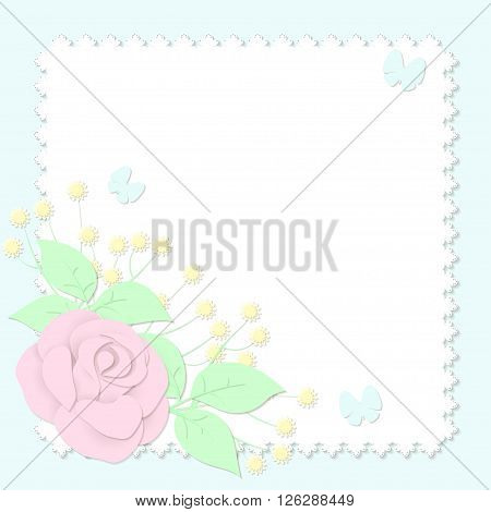 Paper style bouquet, vector illustration, greeting card