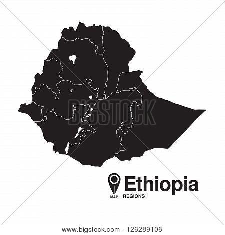 Ethiopia map regions. vector map silhouette of Ethiopia