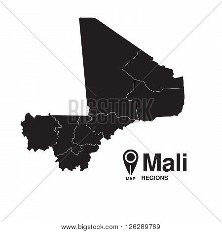 Mali map regions. vector map silhouette of Mali