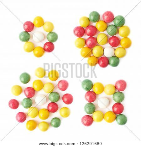 Composition of multiple chewing gum balls isolated over the white background, top view above, set of four different images
