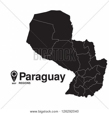 Paraguay map regions. vector map silhouette of Paraguay
