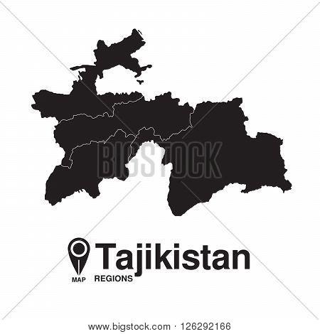 Tajikistan map regions. vector map silhouette of Tajikistan