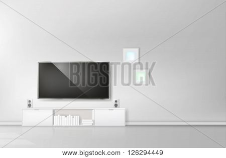 Modern living-room with TV and hifi equipment