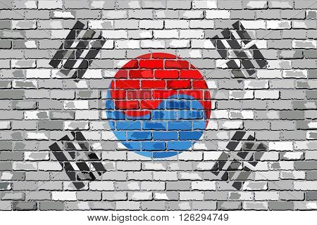 Flag of South Korea on a brick wall - Illustration, 