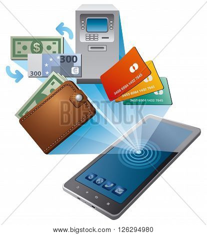 illustration of the money transfer by mobile phone