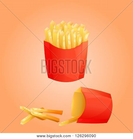 French fries potato and red paper Box. Fast food menu. Vector illustration.