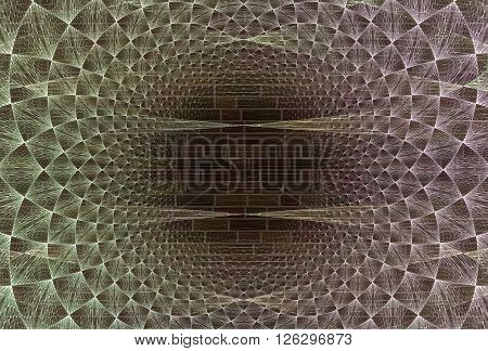 Abstract arrangement of grids bricks and fractal elements suitable as background for projects on physics mathematics technology science and education